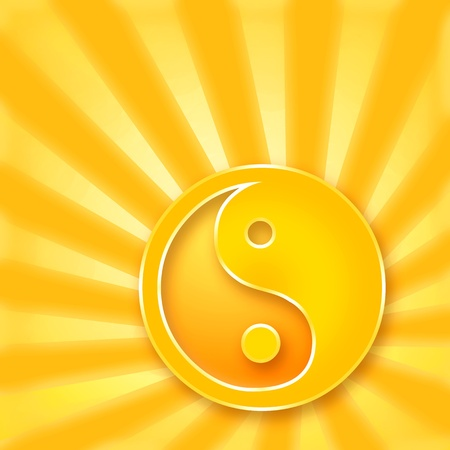 Yin Yang symbol on golden shining background photo