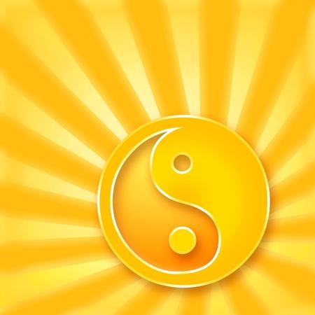 harmonious: Yin Yang symbol on golden shining background Stock Photo