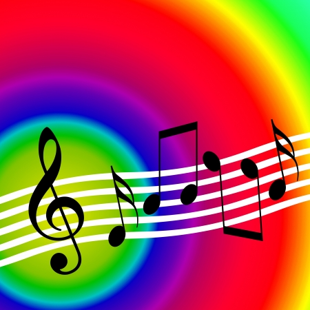 stave: Bright colorful music background