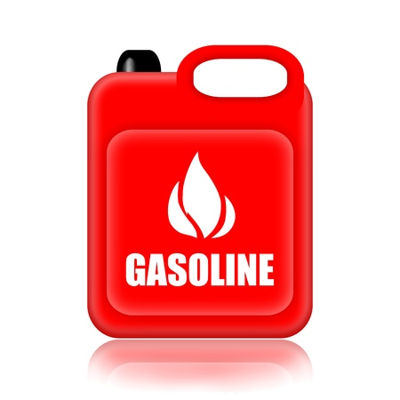 fuel storage tank: Gasoline canister isolated over white background