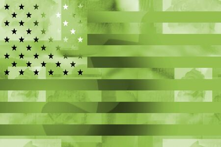 warfare: Military styled american flag grunge background