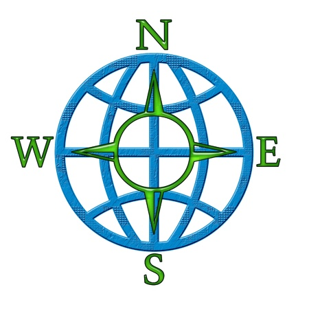 Compass windrose sign isolated on white background photo
