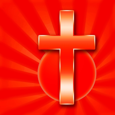 bless: Christian Holy Cross illustration on red background