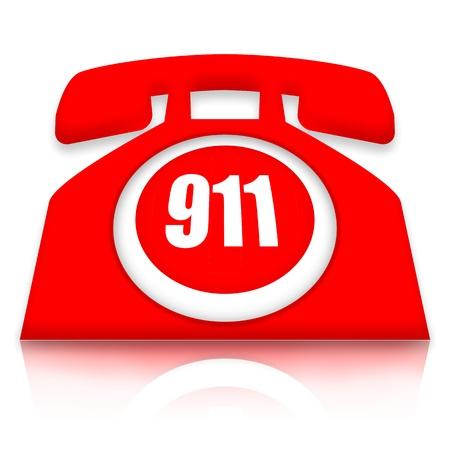 in emergency: Tel�fono de emergencia con 911 nomber sobre fondo blanco