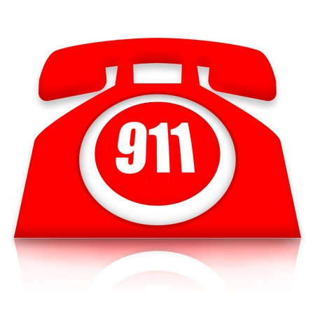 emergencia: Tel�fono de emergencia con 911 nomber sobre fondo blanco