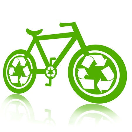 Green bicycle illustration over white background illustration