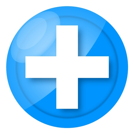 Blue medical icon with cross isolated on white background photo