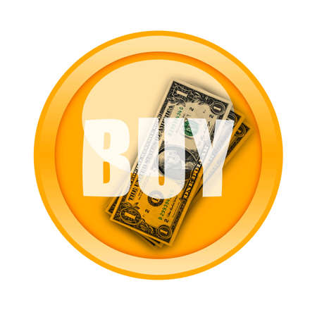 transactions: Buy Button with money inside isolated on white background Stock Photo