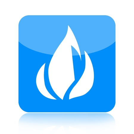 Blue fire icon isolated on white background