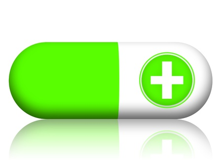 over lab: Green capsule pill illustration on white background