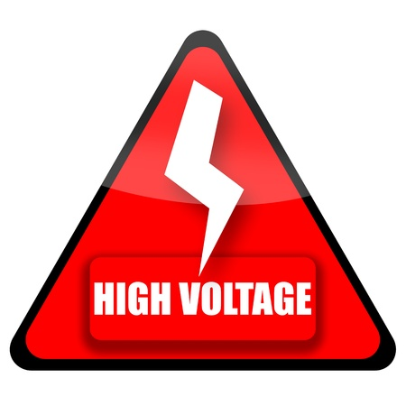 triangular warning sign: High voltage red sign illustration isolated on white background