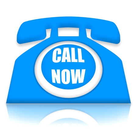 Telephone with Call Now invitation over white background