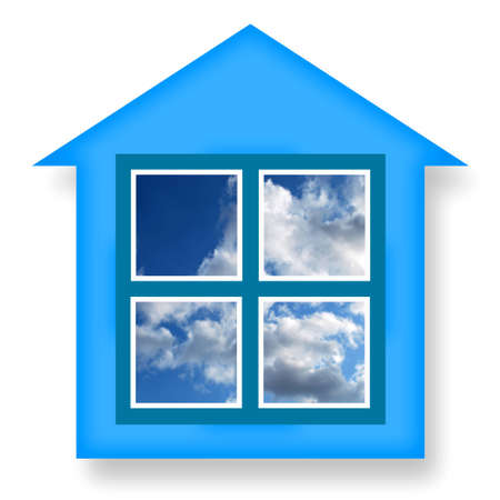 construction projects: house, ideal, buy, eco, sky, air, sign, idea, cozy, icon, sale, blue, home, cloud, white, dream, market, rental, modern, energy, window, design, agency, housing, plastic,  project, heating, cottage, isolated, serenity, dwelling, property, building