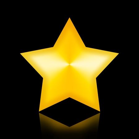 famous star: Majestic Golden Star in the night isolated on black background Stock Photo