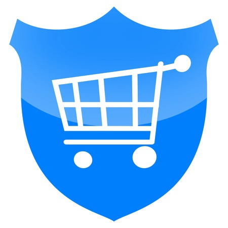 consumers: Consumer protection or secure payment sign with shopping cart on blue shield isolated on white background