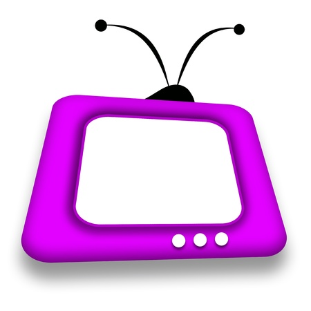 TV set with blank screen illustration over white background