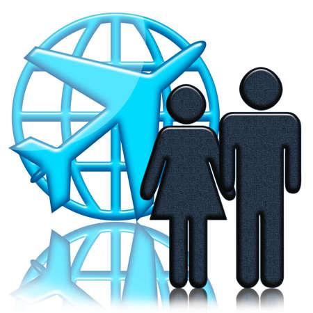 Avión, globo y personas dispuestas a la ilustración signo de vuelo azul sobre fondo blanco