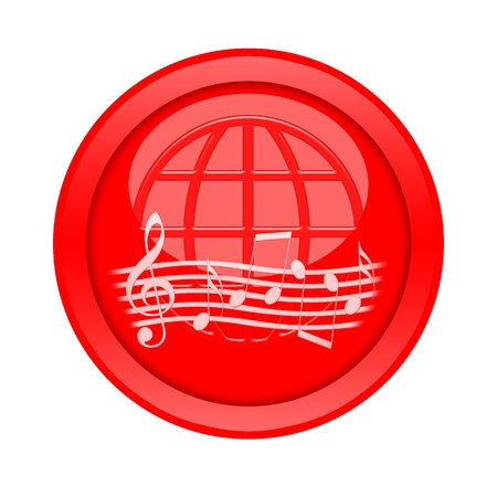 Music button isolated on white background photo