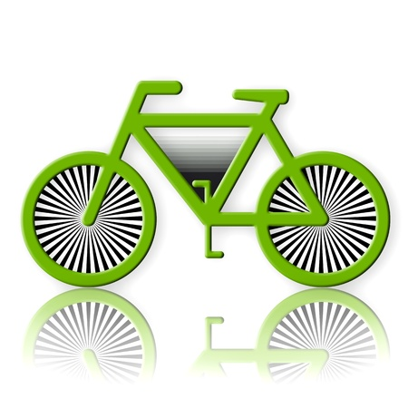 Green bicycle illustration on white background illustration