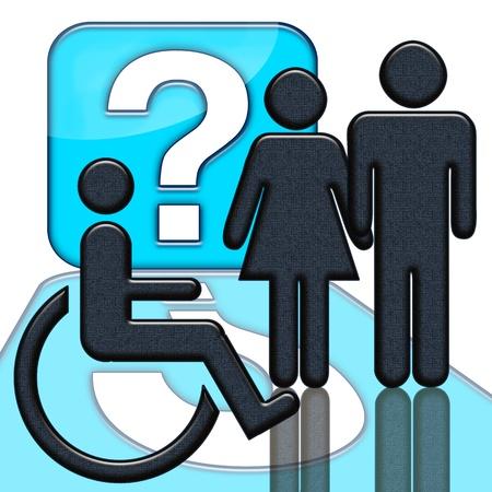 disability insurance: Handicap segno, Persone e portatore di handicap in wheelschair con il punto interrogativo su sfondo bianco