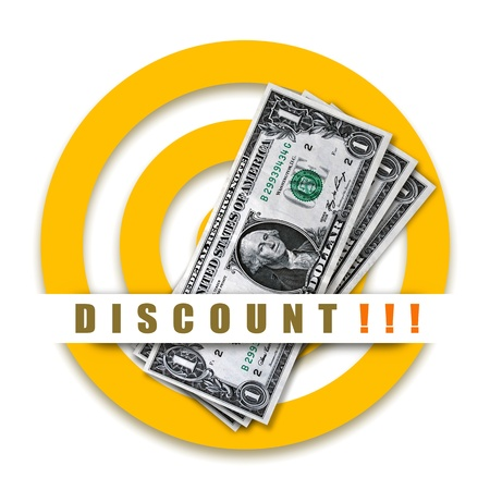 Discount special offer with dollars and target on white background Stock Photo - 12888184