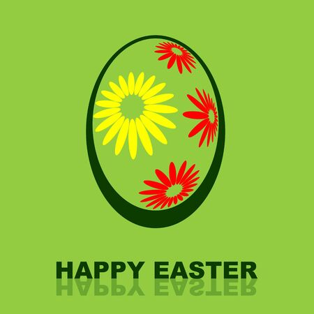 Happy Easter design with floral painted egg on delicate green background photo