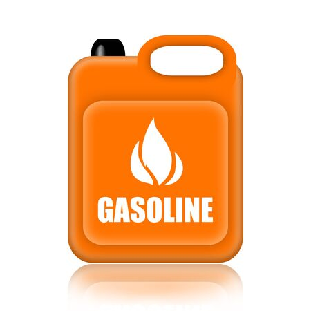 autos: Gasoline jerrycan isolated over white background