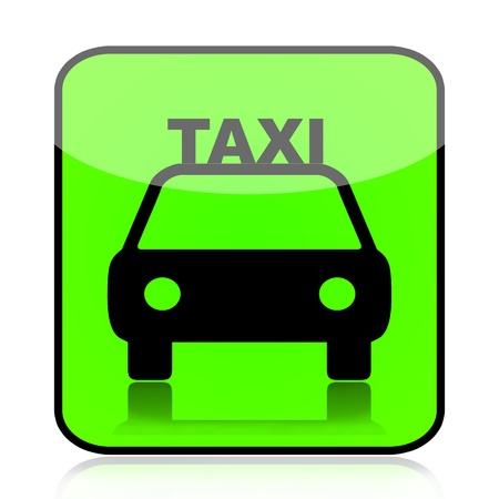taxicab: Taxi car green sign icon isolated on white background Stock Photo