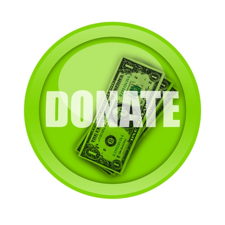 Donate button with cash money inside isolated on white background photo