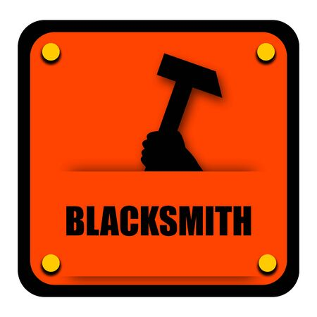 Blacksmith sign with heavy hammer isolated on white background photo