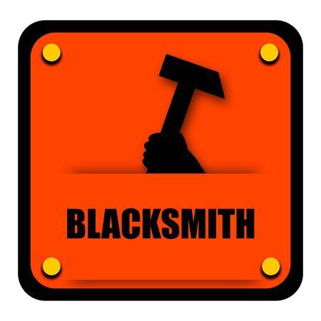 smithery: Blacksmith sign with heavy hammer isolated on white background Stock Photo