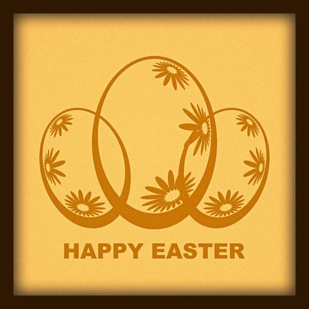 Happy Easter greeting picture in wooden frame photo