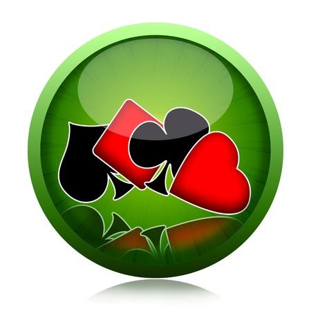 jeu de cartes: Poker bouton de jeu de jeu de cartes avec des costumes cartes � jouer illustration isol� sur fond blanc Banque d'images