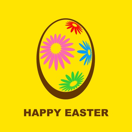Happy Easter bright design with floral decorated egg photo
