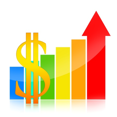 Dollar symbol and colorful business success charts with red arrow indicates growth on white background