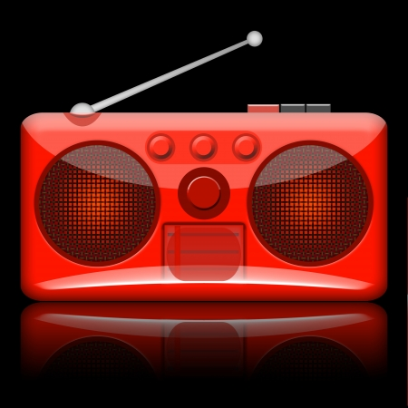 90s: Radio retro illustration isolated on black background Stock Photo