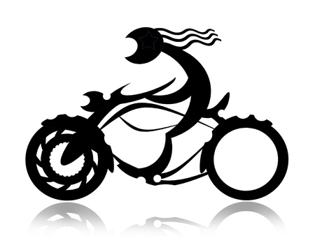Biker on motorcycle black silhouette isolated on white background photo