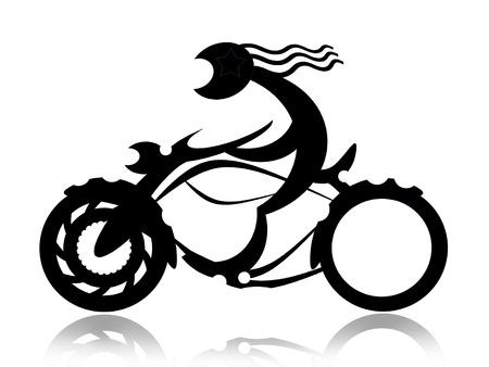 Biker op de motorfiets zwarte silhouet op een witte achtergrond Stockfoto
