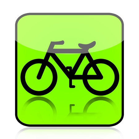 bicyclists: Bicycle green sign isolated on white background