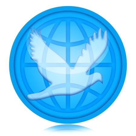 paz mundial: La paz mundial, la paloma y el globo sobre fondo blanco Foto de archivo