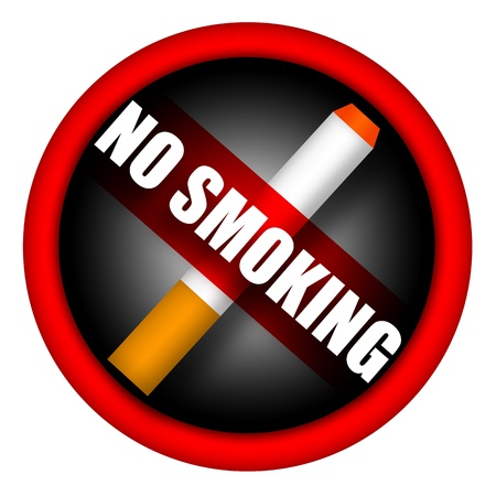 inscription: No smoking sign with cigarette and caution inscription isolated over white background Stock Photo