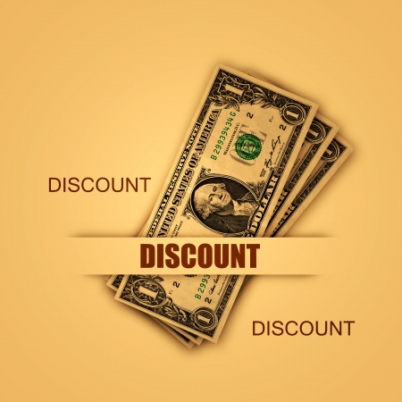Discount special offer illustration with american dollars illustration