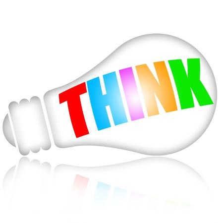 toma de decisiones: Pensando con el concepto de lámpara eléctrica y la inscripción de colores aislados sobre fondo blanco