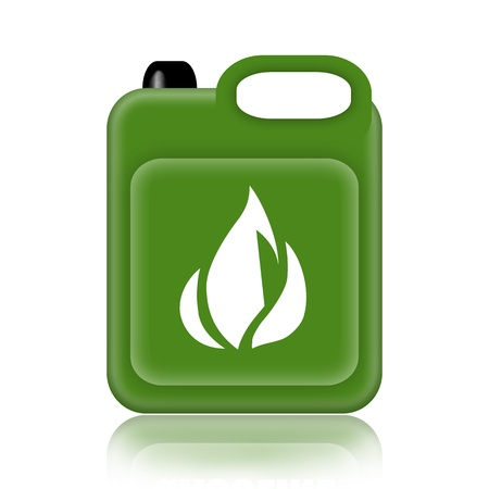 gas fire: Green jerrycan isolated on white background Stock Photo