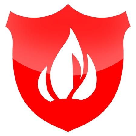 bombero de rojo: Protección contra incendios aislados en fondo blanco Foto de archivo