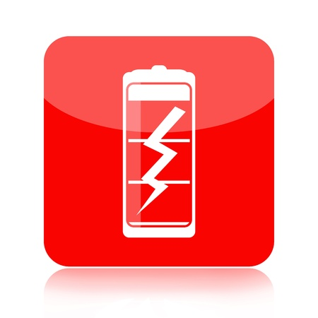 Red glossy battery icon with thunder isolated over white background photo