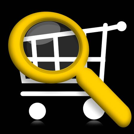 pushcart: Shopping cart under magnifying glass illustration on black background Stock Photo