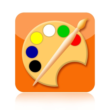 Painting art icon with paintbrush and palette isolated over white background photo