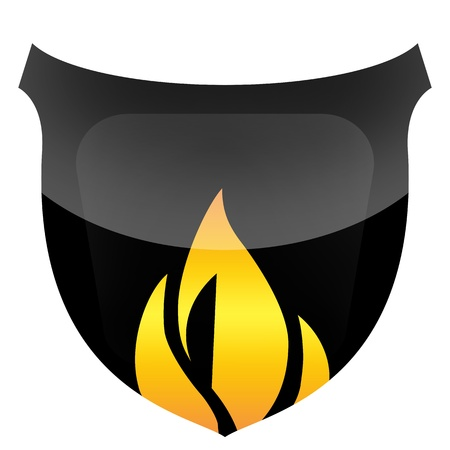 Black protective shield in flames isolated on white background photo