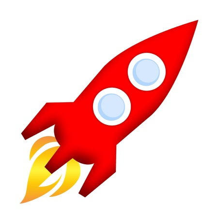 orbiting: Rocket launch isolated over white background